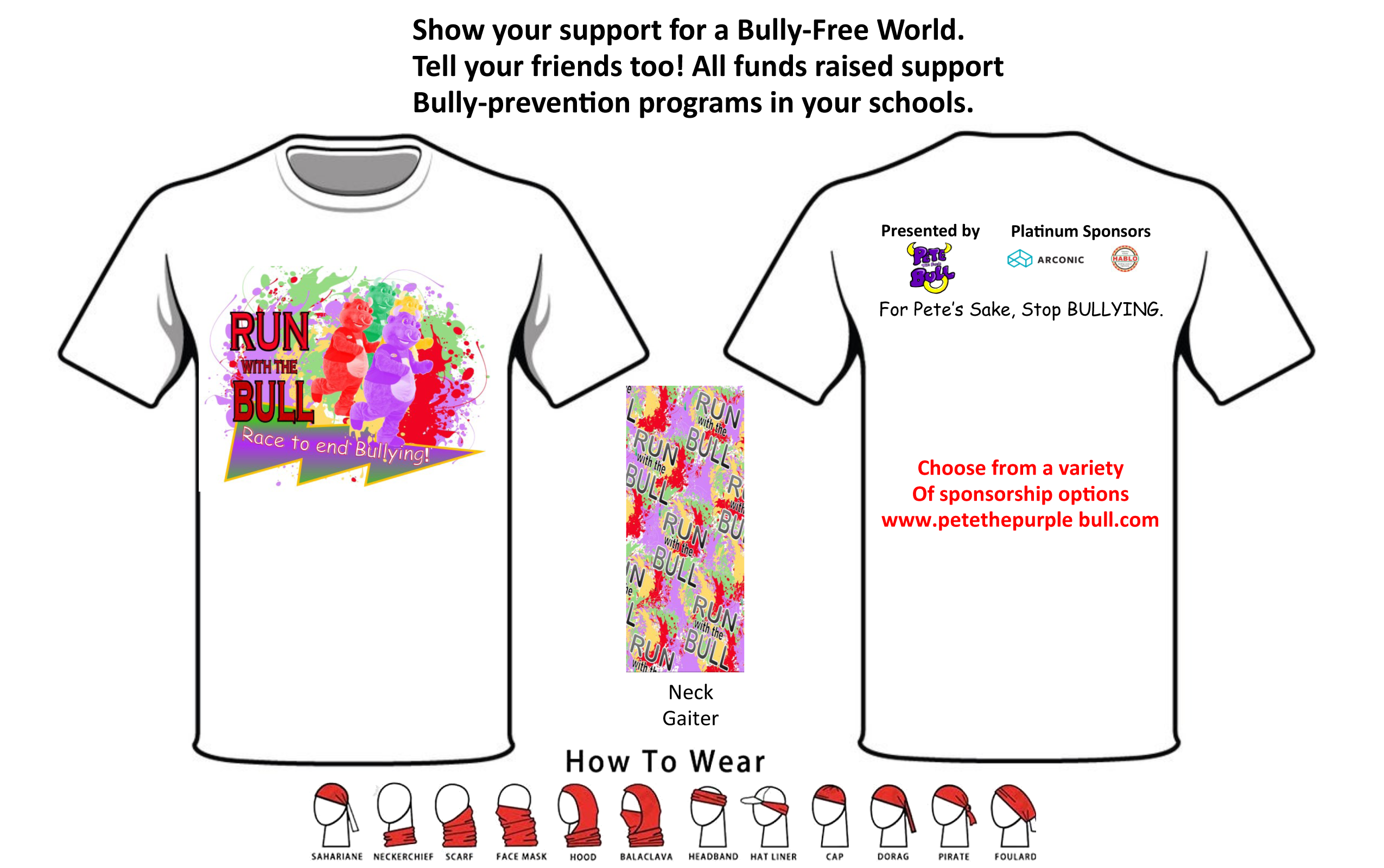 2019 Run With the Bull 5K T-shirt Order Form Snapshot